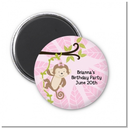 Monkey Girl - Personalized Birthday Party Magnet Favors