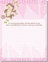 Monkey Girl - Baby Shower Notes of Advice