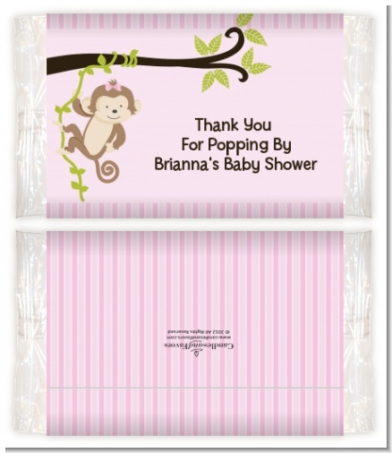 Monkey Girl - Personalized Popcorn Wrapper Baby Shower Favors