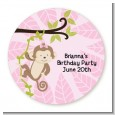 Monkey Girl - Round Personalized Birthday Party Sticker Labels thumbnail
