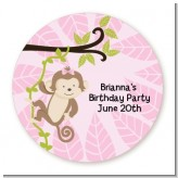 Monkey Girl - Round Personalized Birthday Party Sticker Labels