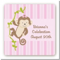 Monkey Girl - Square Personalized Baby Shower Sticker Labels