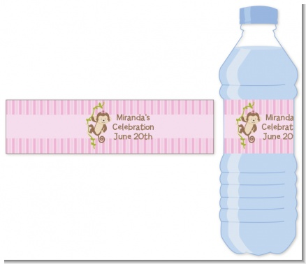 Monkey Girl - Personalized Baby Shower Water Bottle Labels