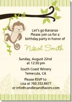 Monkey Neutral - Birthday Party Invitations