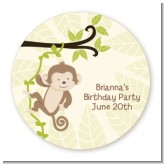 Monkey Neutral - Round Personalized Birthday Party Sticker Labels
