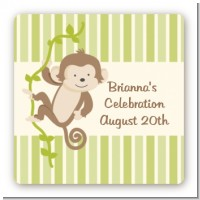 Monkey Neutral - Square Personalized Baby Shower Sticker Labels
