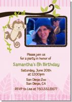 Monkey Girl - Photo Birthday Party Invitations