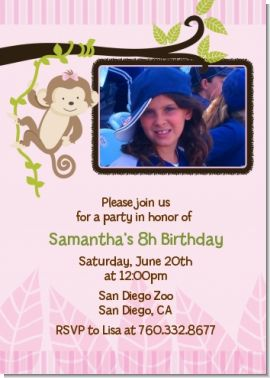 Monkey Girl - Birthday Party Photo Invitations