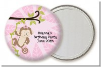 Monkey Girl - Personalized Birthday Party Pocket Mirror Favors