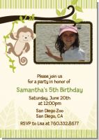 Monkey Neutral - Photo Birthday Party Invitations