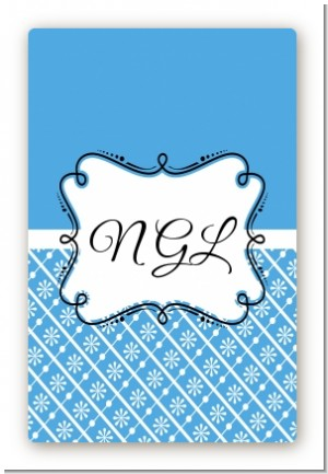 Modern Thatch Blue - Personalized Everyday Party Large Rectangle Sticker/Labels