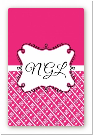Modern Thatch Fuschia - Personalized Everyday Party Large Rectangle Sticker/Labels