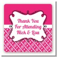 Modern Thatch Fuschia - Personalized Everyday Party Square Sticker Labels thumbnail