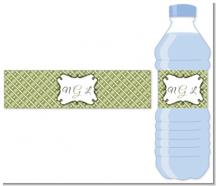 Modern Thatch Green - Personalized Everyday Party Water Bottle Labels
