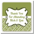 Modern Thatch Green - Personalized Everyday Party Square Sticker Labels thumbnail