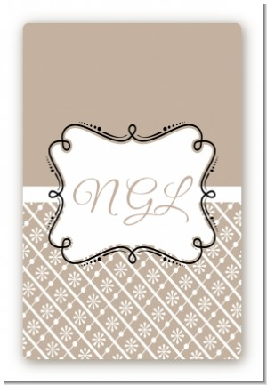 Modern Thatch Latte - Personalized Everyday Party Large Rectangle Sticker/Labels