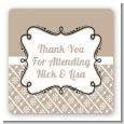 Modern Thatch Latte - Personalized Everyday Party Square Sticker Labels thumbnail
