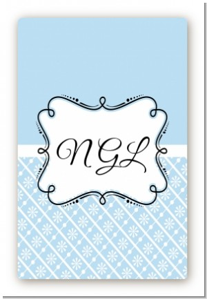 Modern Thatch Light Blue - Personalized Everyday Party Large Rectangle Sticker/Labels