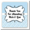 Modern Thatch Light Blue - Personalized Everyday Party Square Sticker Labels thumbnail