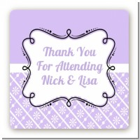 Modern Thatch Lilac - Personalized Everyday Party Square Sticker Labels