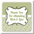 Modern Thatch Olive - Personalized Everyday Party Square Sticker Labels thumbnail