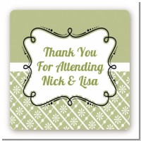Modern Thatch Olive - Personalized Everyday Party Square Sticker Labels