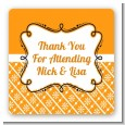 Modern Thatch Orange - Personalized Everyday Party Square Sticker Labels thumbnail