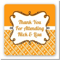 Modern Thatch Orange - Personalized Everyday Party Square Sticker Labels