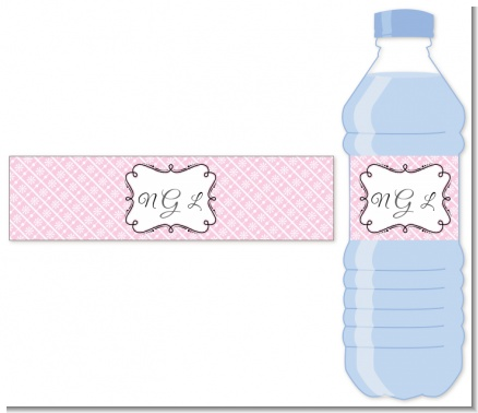 Modern Thatch Pink - Personalized Everyday Party Water Bottle Labels