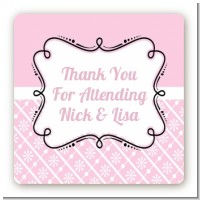 Modern Thatch Pink - Personalized Everyday Party Square Sticker Labels