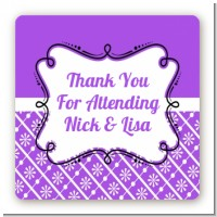 Modern Thatch Purple - Personalized Everyday Party Square Sticker Labels