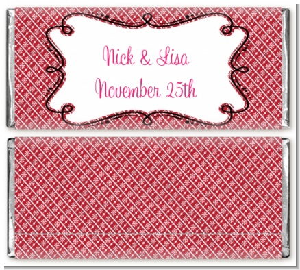 Modern Thatch Red - Personalized Everyday Party Candy Bar Wrappers
