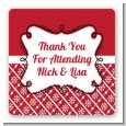 Modern Thatch Red - Personalized Everyday Party Square Sticker Labels thumbnail
