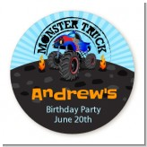 Monster Truck - Round Personalized Birthday Party Sticker Labels