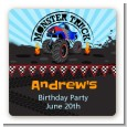 Monster Truck - Square Personalized Birthday Party Sticker Labels thumbnail