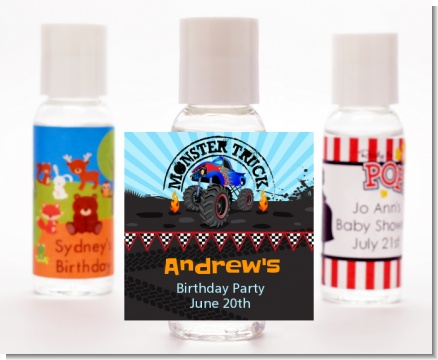 Monster Truck - Personalized Birthday Party Hand Sanitizers Favors