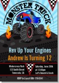 Monster Truck - Birthday Party Invitations