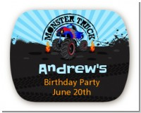 Monster Truck - Personalized Birthday Party Rounded Corner Stickers