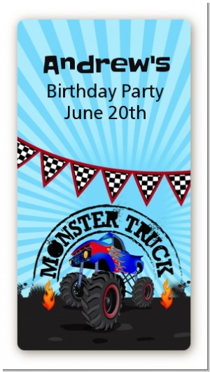 Monster Truck - Custom Rectangle Birthday Party Sticker/Labels