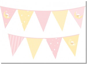 Over The Moon Girl - Baby Shower Themed Pennant Set