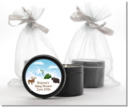 Moose and Bear - Baby Shower Black Candle Tin Favors