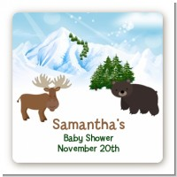 Moose and Bear - Square Personalized Baby Shower Sticker Labels
