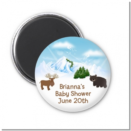 Moose and Bear - Personalized Baby Shower Magnet Favors