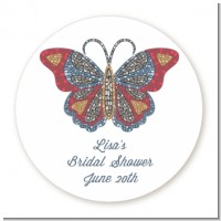 Mosaic Butterfly - Round Personalized Bridal Shower Sticker Labels