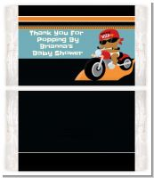 Motorcycle African American Baby Boy - Personalized Popcorn Wrapper Baby Shower Favors