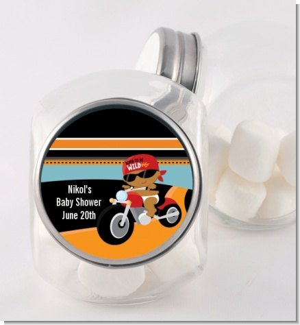 Motorcycle African American Baby Boy - Personalized Baby Shower Candy Jar