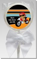 Motorcycle African American Baby Boy - Personalized Baby Shower Lollipop Favors