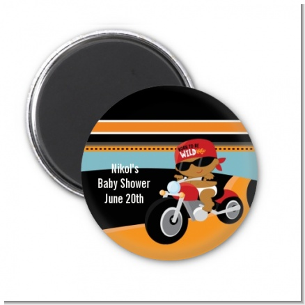 Motorcycle African American Baby Boy - Personalized Baby Shower Magnet Favors