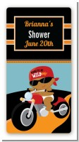 Motorcycle African American Baby Boy - Custom Rectangle Baby Shower Sticker/Labels