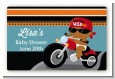 Motorcycle African American Baby Boy - Baby Shower Landscape Sticker/Labels thumbnail